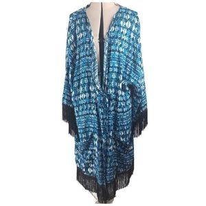 Always For Me Blue Black Geometric Print Cover Up